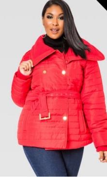 ashley stewart red coat