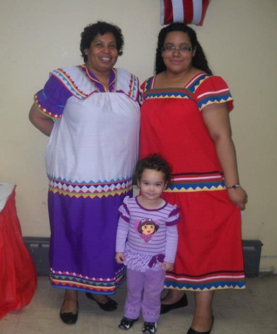My mother and I at an international festival in 2013 wearing nagua from the Panamanian Guaymi tribe that my mother is from dresses.