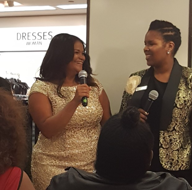 Full Figured Fashion Week Model of the Year, Christina Mendez with our Lord & Taylor host.